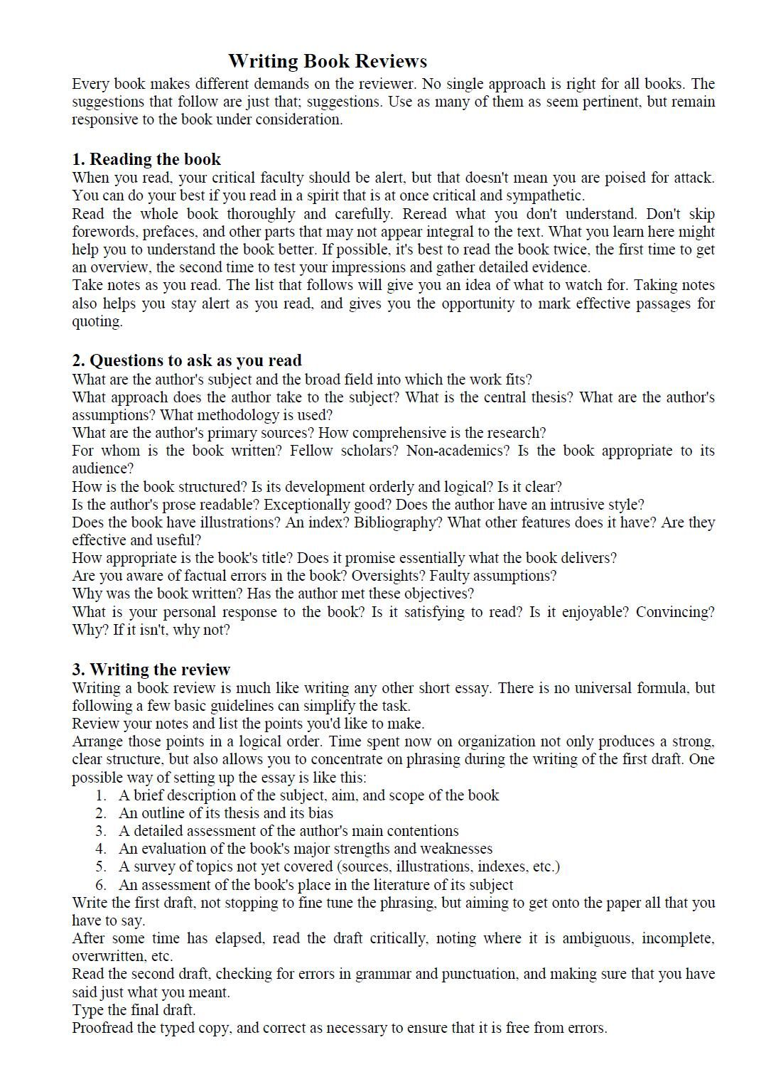 example of a critical book review essay