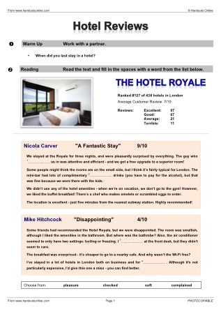 write a hotel review on booking com