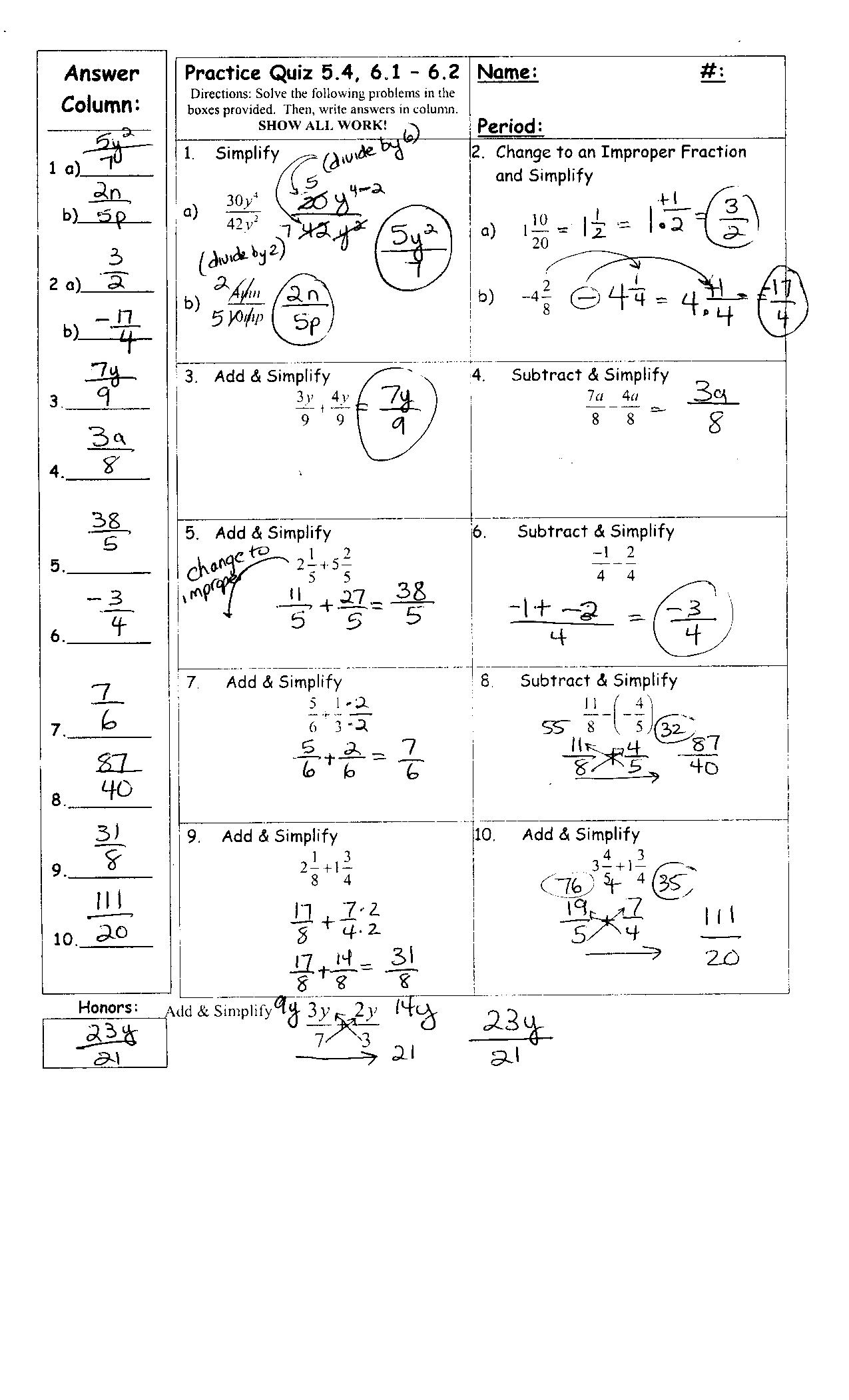 fraction review worksheet answer key